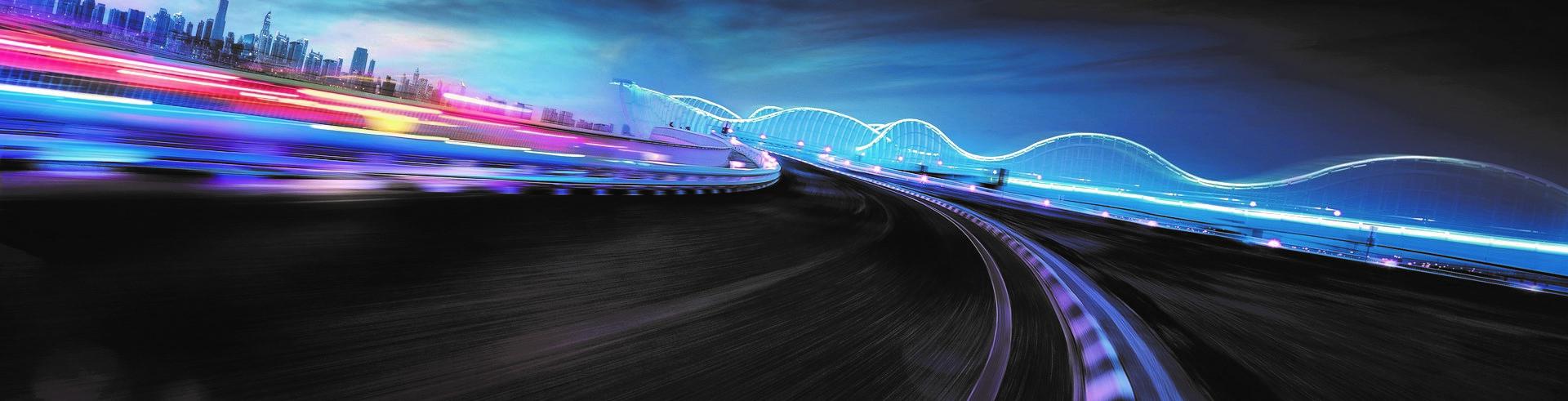 唯美夜景的交通公路