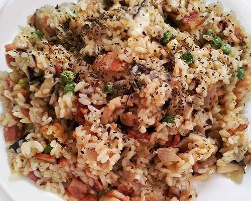 培根蘑菇烩饭